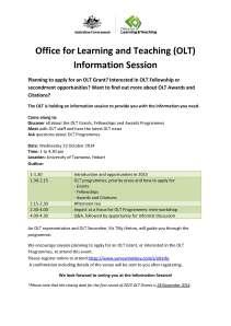 OLT Information Session flyer TAS
