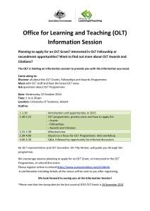 OLT Information Session flyer TAS
