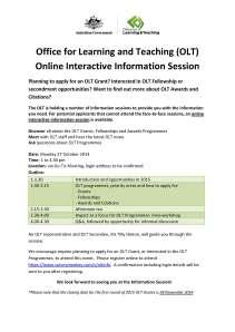 OLT Online Information Session flyer